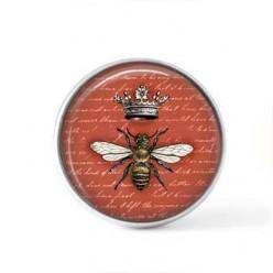 Bouton cabochon clipsable pour bijoux interchangeables : Thème abeille vintage sur fond terra cotta