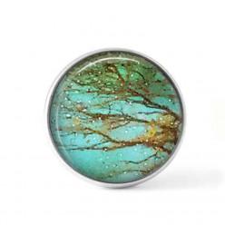 Bouton cabochon clipsable pour bijoux interchangeables : Thème arbre brun sur fond turquoise