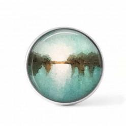 Bouton cabochon clipsable pour bijoux interchangeables : Thème paysage bleu lumineux