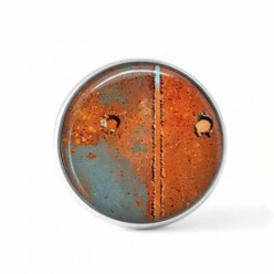 Interchangeable jewelry clip-on cabochon button with an abstract orange rust and celadon green pattern