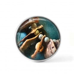 Snap button cabochon for interchangeable jewelry with an abstract tribal pattern in brown and turquoise