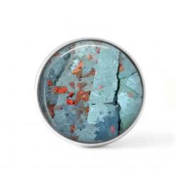 Bouton cabochon clipsable pour bijoux interchangeables avec un motif abstrait turquoise et points rouges