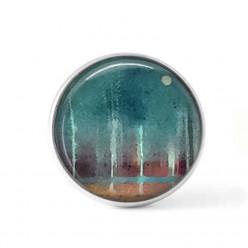"""Bouton cabochon clipsable pour bijoux interchangeables avec un motif abstrait """"forêt et lune"""" en brun et turquoise"""