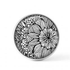 Cabochon / bouton pour bijoux interchangeables - Floral noir et blanc 2