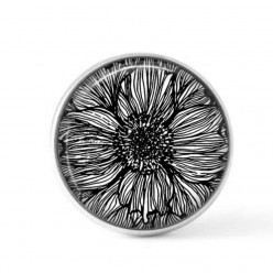 Cabochon / Button for Interchangeable Jewelry - Black and White Floral 3