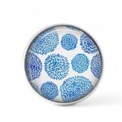 Cabochon / bouton pour bijoux interchangeables - Points en boules bleus