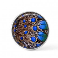 Cabochon / Button for Interchangeable Jewelry - Royal blue and brown feather theme