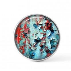 Cabochon / bouton pour bijoux interchangeables -  Lichen turquoise et rouge