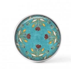 Cabochon / bouton pour bijoux interchangeables - Floral turquoise et chocolat