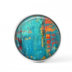 Cabochon / Button for Interchangeable Jewelry - Abstract turquoise and orange theme