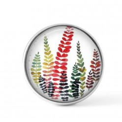 Cabochon / Button for Interchangeable Jewelry - Multicolor ferns theme