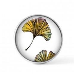 Cabochon / bouton pour bijoux interchangeables - Feuilles de ginkgo multicolores