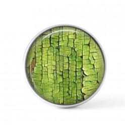 Cabochon / bouton pour bijoux interchangeables - Peinture craquelée verte