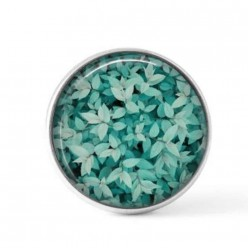 Cabochon / Button for Interchangeable Jewelry - turquoise leaves theme