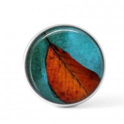 Cabochon / bouton pour bijoux interchangeables - Feuille orange sur fond vert turquoise