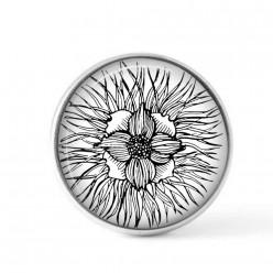 Cabochon / bouton pour bijoux interchangeables - Floral noir et blanc 4