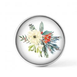 Cabochon / bouton pour bijoux interchangeables - Bouquet de Noël