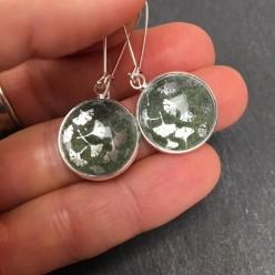 Forest green ginkgo dangle earrings