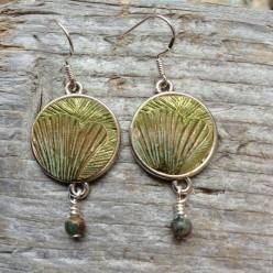 Ginkgo leaf textured dangle earrings