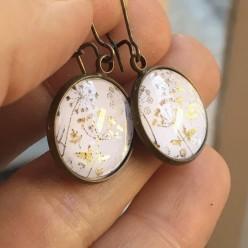 Golden field of flowers themed dangle earrings