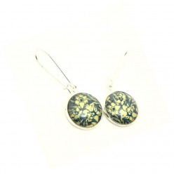 Grey blue and yellow daffodil dangle earrings