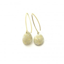 Mother of pearl drops with golden words dangle earrings
