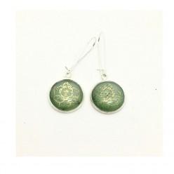 Sage green and gold daffodil dangle earrings