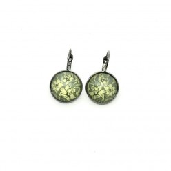 Sage green and yellow daffodil lever-back earrings