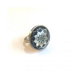 Stainless steel navy blue mandala ring