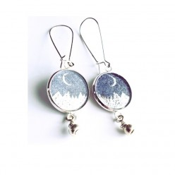 Starry night silver and blue dangle earrings
