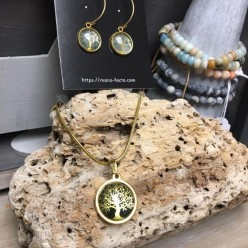 Tree of life stainless steel necklace and matching earrings