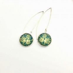 Turquoise and yellow daffodil dangle earrings