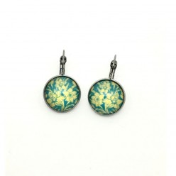 Turquoise and yellow daffodil level-back earrings