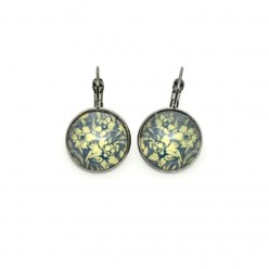 Grey blue and yellow daffodil lever-back earrings