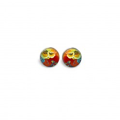 Stud earrings featuring a red and yellow floral theme