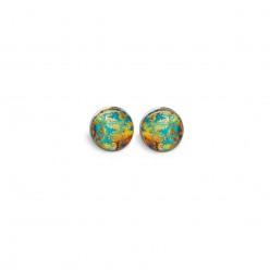 Stud earrings with a turquoise, gold and copper abstract theme