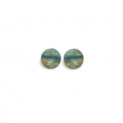 Stud earrings with an abstract teal and beige theme