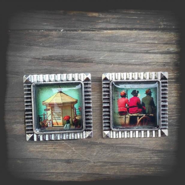 """Broche thème carte postal vintage """"Charette"""" métal couleur argent vieilli"""