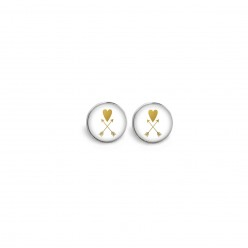 Stud earrings featuring a heart and arrow theme - white and gold