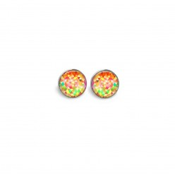 Stud earrings featuring multicoloured triangle theme in orange and green