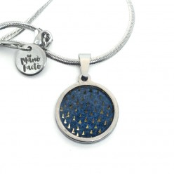 Stainless steel necklace with a Gold Triangles theme on a deep blue background