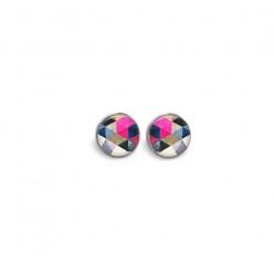 Boucles d'oreilles clous avec le thème Boho triangles aquarelle fuchsia