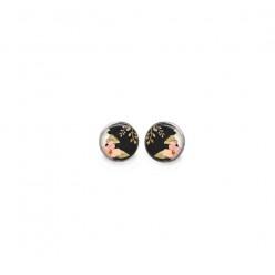 Boucles d'oreilles clous avec le thème  motif boho floral sur fond noir - fleurs roses et feuilles