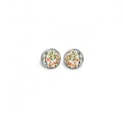 Boucles d'oreilles clous ou puces motif feuilles et fleurs khaki et corail