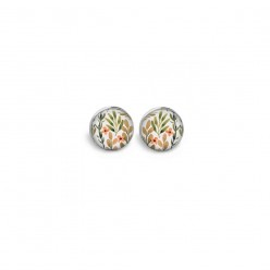 Stud or chip earrings with khaki and coral leaves and flowers