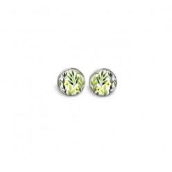 Boucles d'oreilles clous ou puces motif feuilles et fleurs vert et jaune