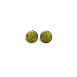 Boucles d'oreilles clous ou puces motif feuille verte