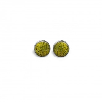 Stud earrings featuring a summertime theme with a green leaf theme