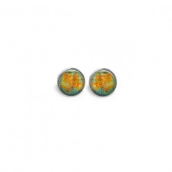 Stud earrings featuring a yellow leaf theme