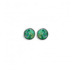 Stud earrings featuring emerald green peacock feathers